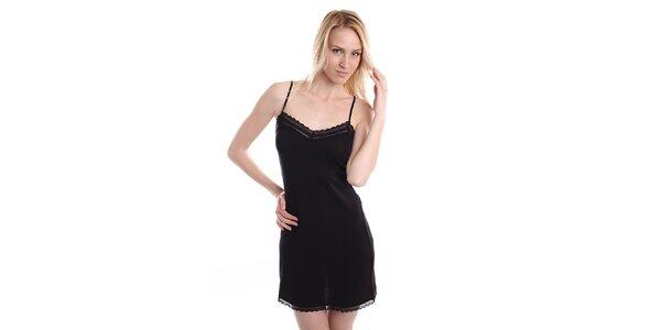Dámská černá noční košile na špagetových ramínkách DKNY