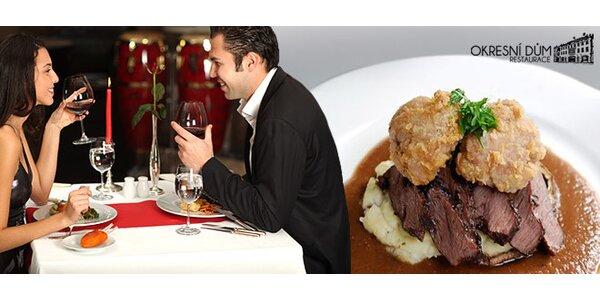 Luxusní 3chodové menu PRO DVA v nové stylové restauraci