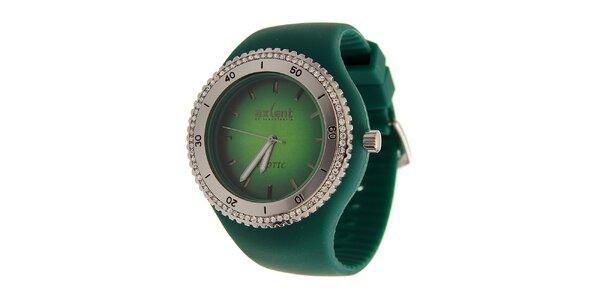 Dámské zelené náramkové hodinky Axcent s pryžovým řemínkem a kamínky
