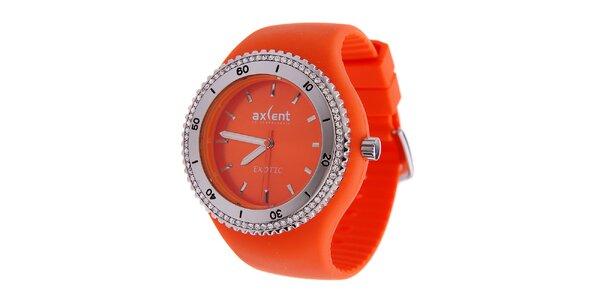 Dámské sytě oranžové náramkové hodinky Axcent s pryžovým řemínkem a kamínky