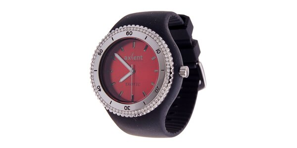 Dámské náramkové hodinky Axcent s černým pryžovým řemínkem a kamínky