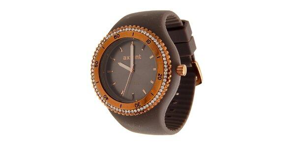 Dámské zlaté ocelové hodinky Axcent s tmavě hnědým pryžovým řemínkem