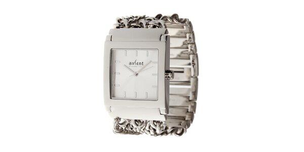 Dámské stříbrné náramkové hodinky Axcent s ozdobným řemínkem