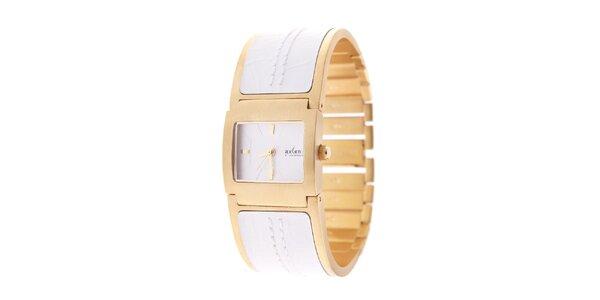 Dámské zlaté hodinky Axcent s bílým kombinovaným řemínkem