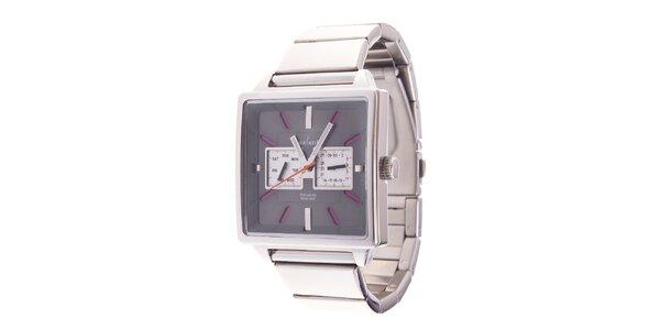 Hranaté analogové hodinky Axcent s růžovými detaily