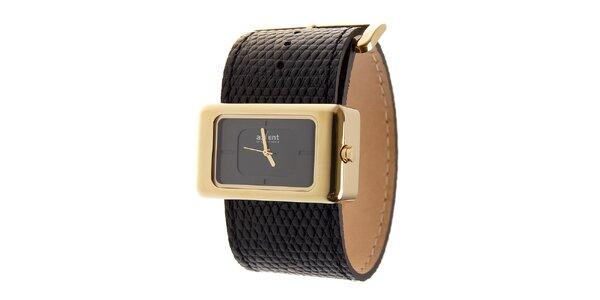 Dámské zlaté hodinky Axcent s černým koženým řemínkem