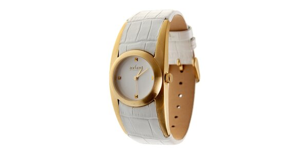 Dámské zlaté hodinky Axcent s bílým koženým řemínkem