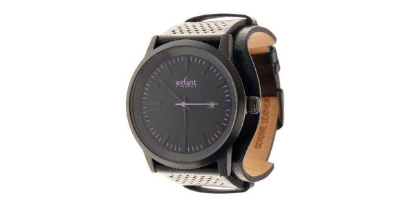 Černé ocelové hodinky Axcent s černým koženým řemínkem a fialovými prvky