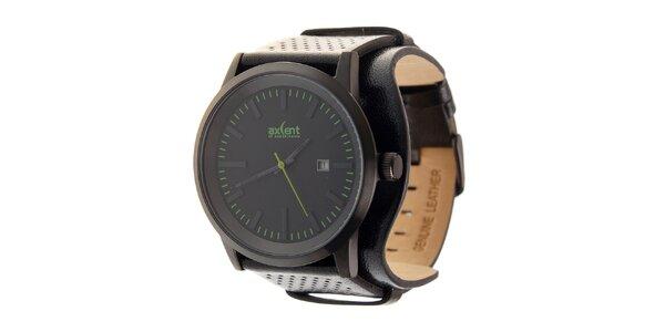 Černé ocelové hodinky Axcent s černým koženým řemínkem a zelenými prvky