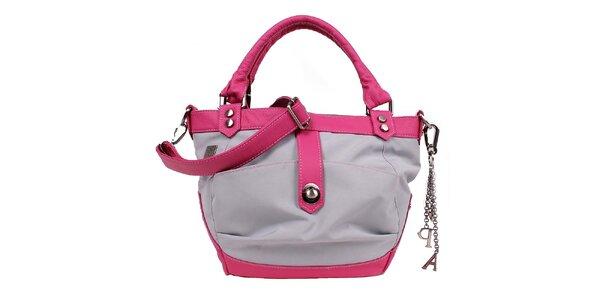 Dámská šedo-růžová kabelka s přívěsky Jahn for Jahn