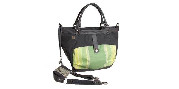Dámská černá kabelka se zelenými detaily Jahn for Jahn