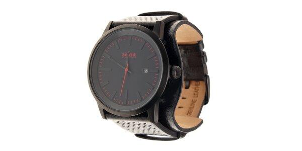 Černé ocelové hodinky Axcent s černým koženým řemínkem a červenými prvky