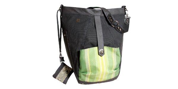 Dámská velká šedá kabelka se zelenou kapsičkou Jahn for Jahn
