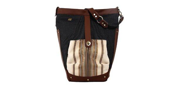 Dámská prostorná kabelka s béžovo-hnědými detaily Jahn for Jahn