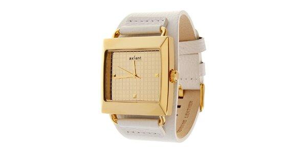 Zlaté hodinky Axcent s bílým koženým řemínkem