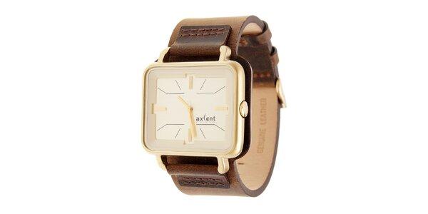 Zlaté hodinky Axcent s hnědým koženým řemínkem