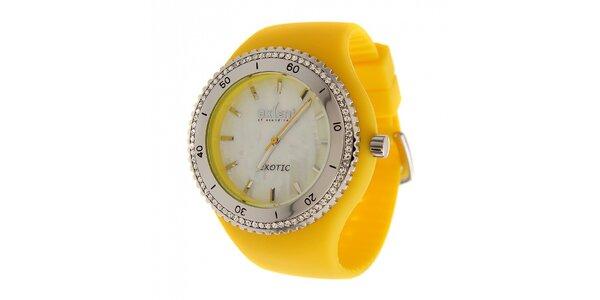 Dámské žluté náramkové hodinky Axcent s pryžovým řemínkem a kamínky