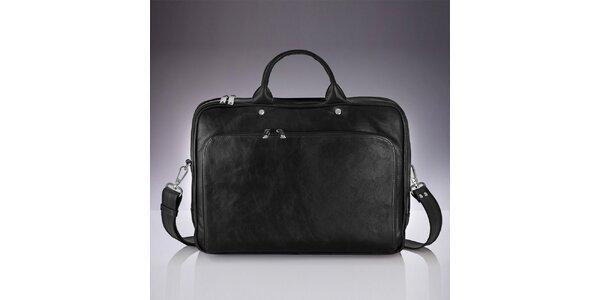 Pánská černá kožená taška Solier