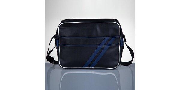 Pánská černá taška s modrými proužky Solier