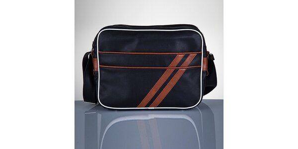 Pánská černá taška s hnědými proužky Solier