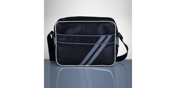 Pánská černá taška s šedými proužky Solier
