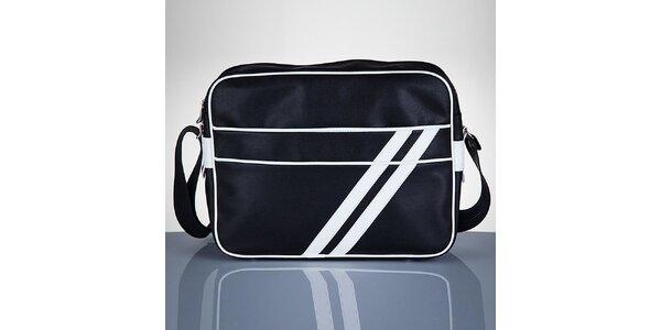 Pánská černá taška s bílými proužky Solier