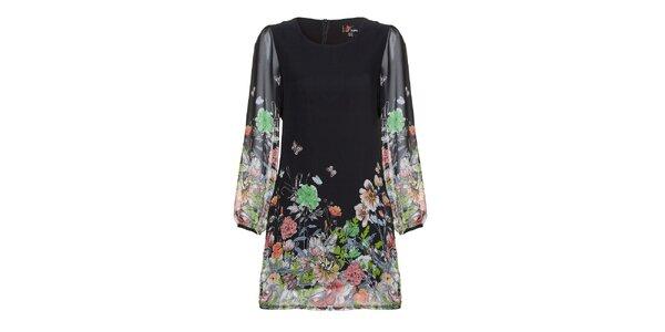 Dámské černé šaty s barevným potiskem Yumi