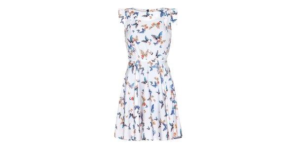 Dámské krémové šaty s barevnými motýlky Yumi