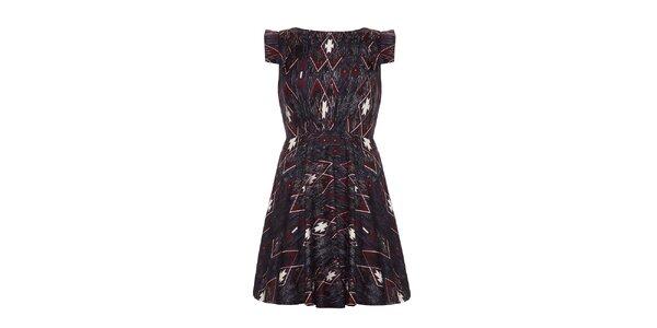 Dámské tmavé šaty s geometrickými obrazci Yumi