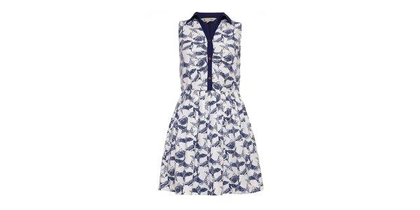 Dámské světlé šaty s modrými ptáčky Yumi
