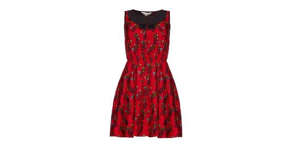 Dámské červené šaty s klíckami Yumi