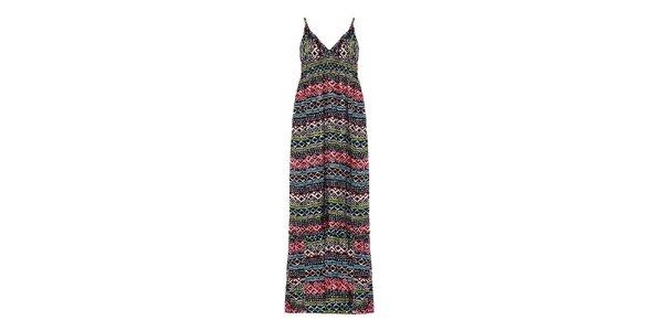 Dámské černé šaty s barevným vzorem Yumi