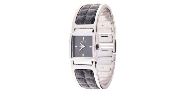 Dámské stříbrné náramkové hodinky Axcent s kombinovaným řemínkem