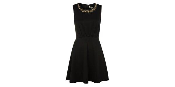 Dámské tmavomodré šaty Yumi se třpytivým dekoltem