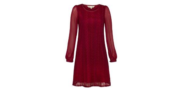 Dámské burgundy krajkové šaty Yumi