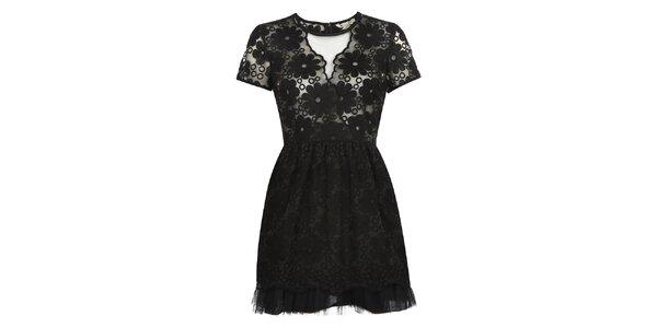 Dámské černé šaty s květy Yumi