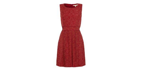 Dámské rudé šaty s oranžovými puntíky Yumi