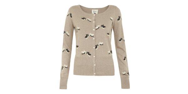 Dámský béžový svetřík s ptáčky Yumi