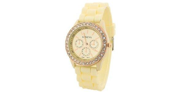 Geneva with rhinestones flint Color/Creme, dámské hodinky