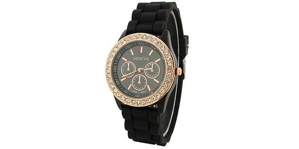 Geneva with rhinestones flint Color/Black, dámské hodinky