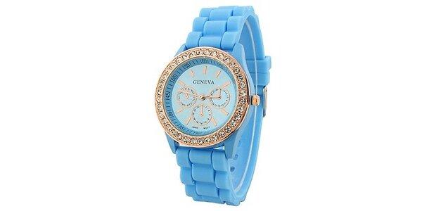 Geneva with rhinestones flint Color/Light blue, dámské hodinky