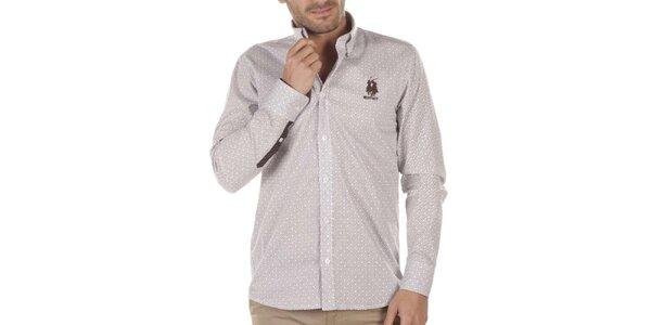 Pánská košile s drobným vzorem a hnědou výšivkou Bendorff Next