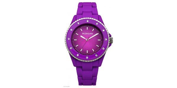 Dámské neonově fialové hodinky s krystaly Morgan de Toi
