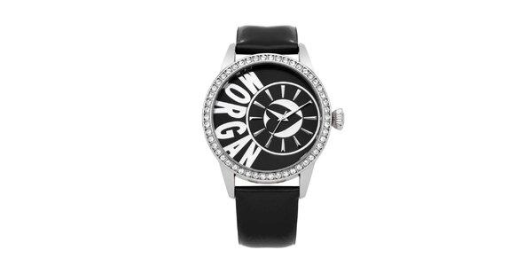 Dámské černé hodinky s krystaly Morgan de Toi
