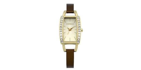 Dámské hnědo-zlaté hodinky s krystaly Morgan de Toi