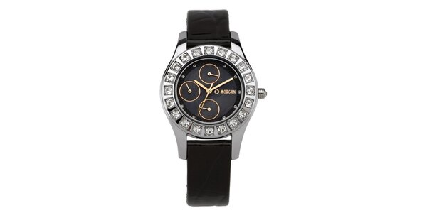 Dámské hodinky s krystaly a černým ciferníkem Morgan de Toi