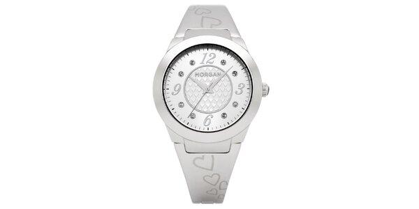 Dámské stříbrně matné hodinky s krystaly Morgan de Toi