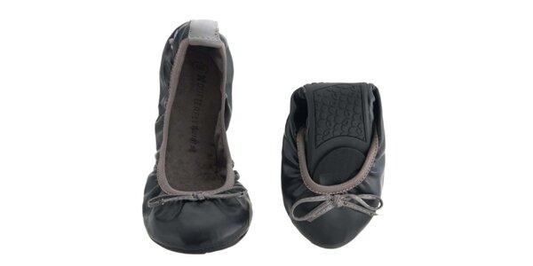 Dámské černo-šedé balerínky s mašlí Butterfly Twists