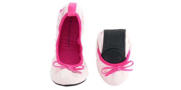 Dámské světle růžové balerínky s mašlí Butterfly Twists