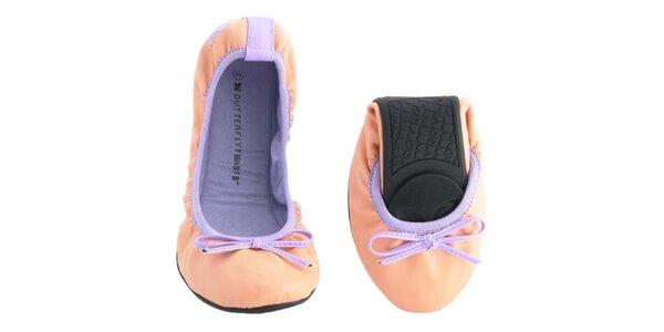 Dámské broskvovo-fialové balerínky s mašlí Butterfly Twists